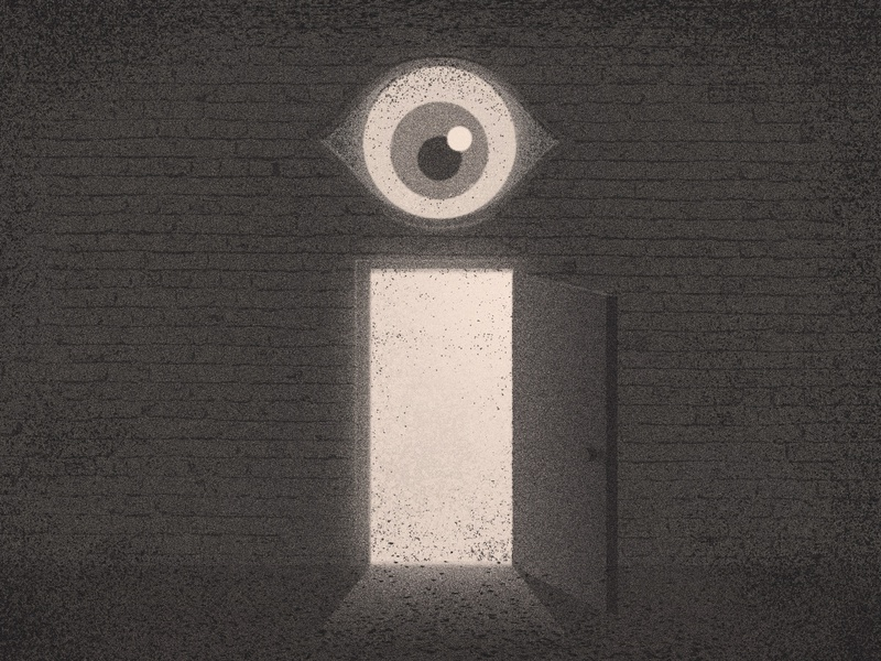 36 Days of Type - I vintage lettering type illustration typography 3d texture shadow symbolism door eyeball eye 36 days of type 36daysoftype07 36days 36daysoftype