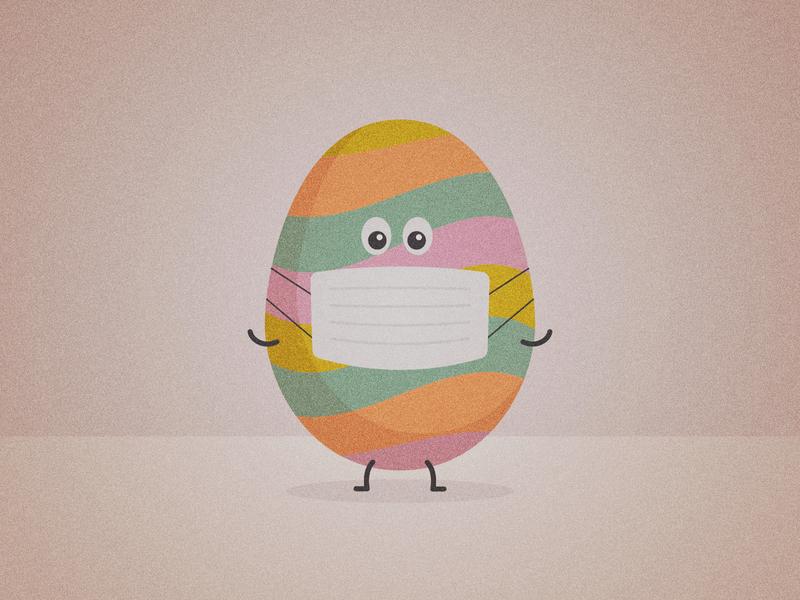 Happy Easter! character illustration cartoon mask facemask ppe egg coronavirus covid-19 covid19
