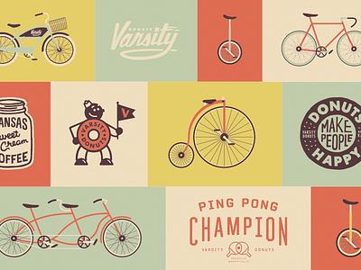 Varsity Donuts Wall donuts ping pong happy bike shop wheel pedal kansas sweet cream coffee