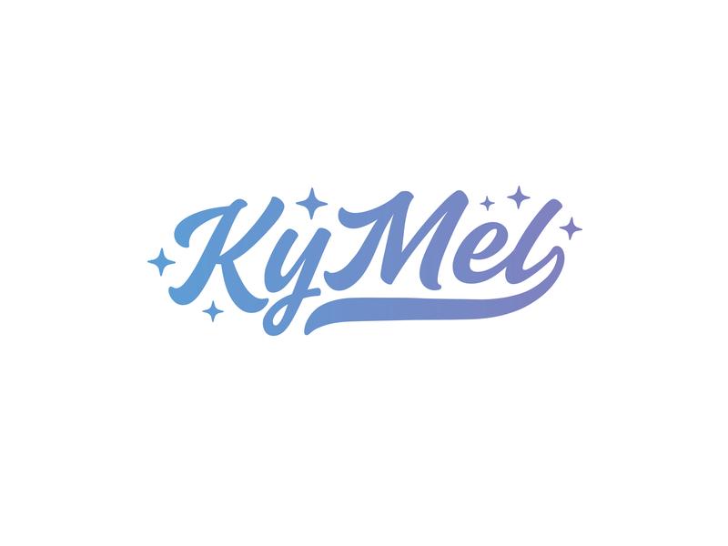 KyMel swash gradient star script logo