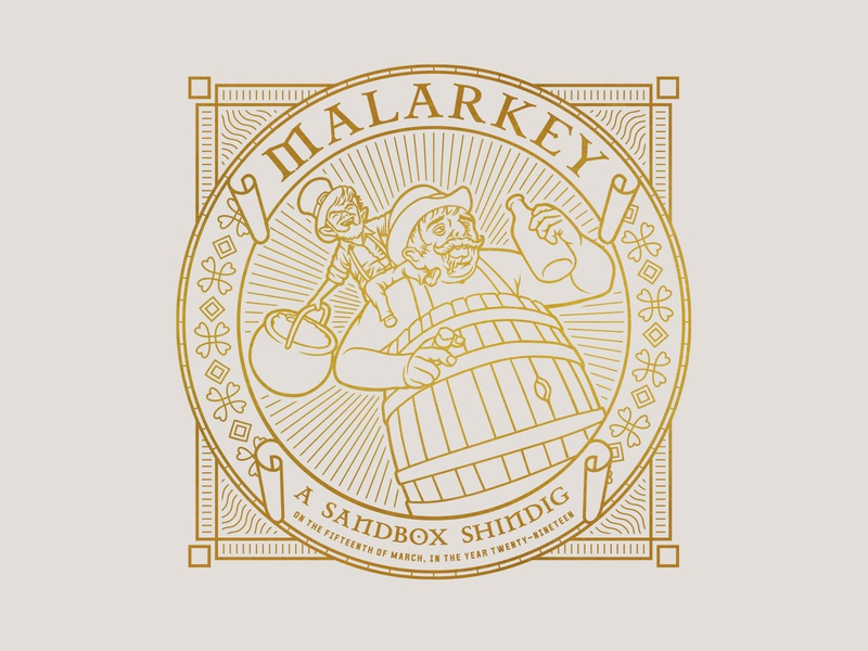 Malarkey label whiskey shirt barrel bottle gold pot of gold pot leprechaun illustration pattern beer drunk shamrock clover st patricks day
