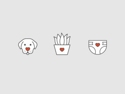 Community Service Icons volunteer diaper line pot succulent plant dog heart