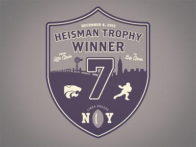 Heisman Hopeful trophy ny new york city times square football crest shield little big apple skyline windmill fence powercat k-state collin klein winner brothers hoboken high