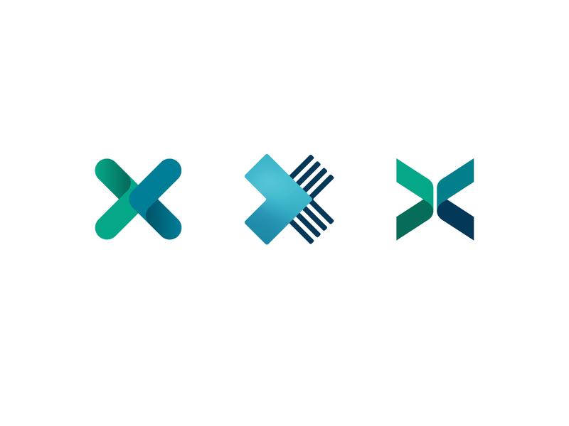 XXX logotype ex mark logo right left arrow