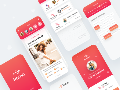 Kama App - Stop Texting, Start Dating user interface design mobile app design uiux product design red orange passionate iphone clean cards dating app love passion progress match heart user experience 2020 swipe date