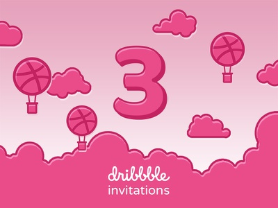 Dribbble Invites Giveaway hot balloon clouds pink invitations invite flat ui design illustration