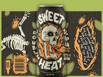 Sweet Heat beer label craftbeer brewery hops beer custom illustration label design beer label design custom lettering brand design illustrative branding typography