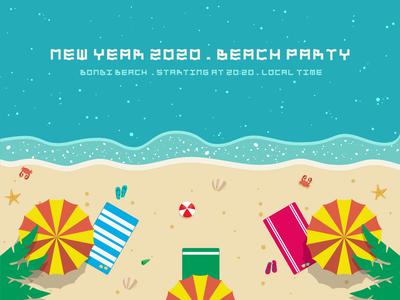 NEW YEAR 2020 . BEACH PARTY illustration
