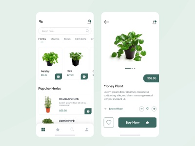 Plants App UI daily ui trend 2020 dailyui app ui kit app ui design minimal minimal app app concept android app design ios app design 2020 ui design ecommerce android app interface ui  ux illustration design app 2020 trend