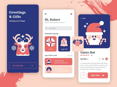 Greetings & Gift Mobile App UI/UX design style 2d dailyui ios app design vector startup cristmas onboarding screen onboarding ui minimal android app interface ecommerce app concept ui  ux 2020 trend illustration ui design