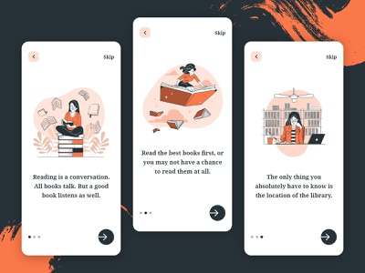 Onboarding Screen Exploration - Books App mockups 2d ios app ui mobile ui splash onboarding ui onboarding screens onboarding ios app design flat typography minimal android app design interface ecommerce app concept ui  ux illustration ui design