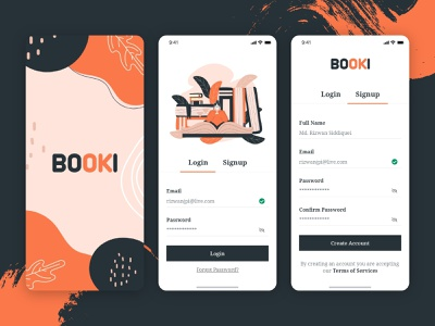Book Reading App - Splash Screen, Login and Sign up Screen book splash dailyui splash screen ios app design sign up login screen sign in launch screen walkthrough ui minimal android app typography 2020 trend ecommerce app concept ui  ux illustration ui design