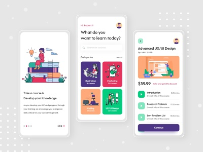 Online Course App teacher teaching school student online course learning platform learning online learning education course colorful coaching dailyui minimal typography design interface ecommerce app concept illustration