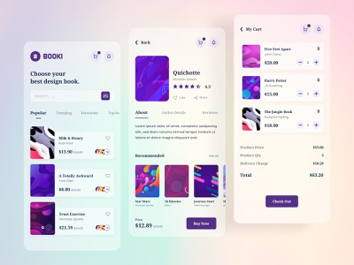 Booki - Book App Store store app mobile app store reading clean books library bookdown book app design ui interface ui  ux minimal dailyui app concept ui design illustration application app