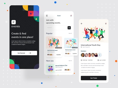Event App Exploration event app event clean interface ui minimal dailyui app concept ui  ux ui design design illustration