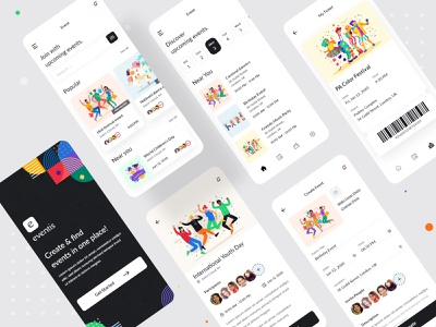 Event App Exploration planner event app event minimal typography 2020 trend ecommerce dailyui app concept ui  ux design ui design illustration