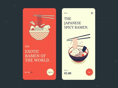 Food App Exploration restaurant ramen food app uidesign clean ecommerce typography dailyui 2020 trend branding minimal app concept ui design illustration