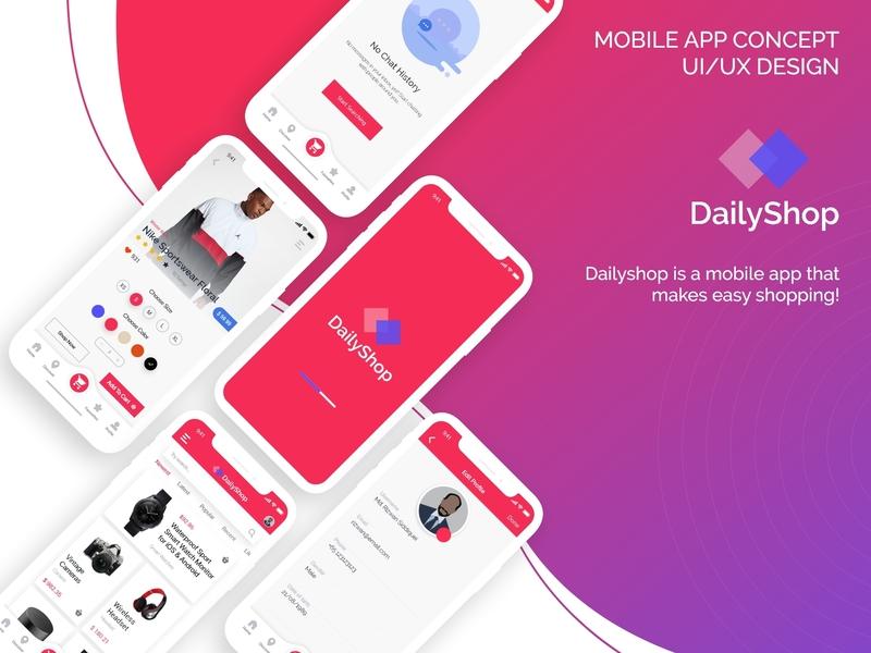 Dailyshop ecommerce app ui  ux uiux ui design design ux app ui