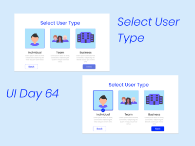 Select User Type - Daily UI Challenge Day 64