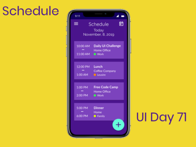 Schedule Daily UI Challenge Day 71