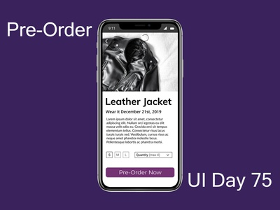 Pre-Order Daily UI Challenge Day 75