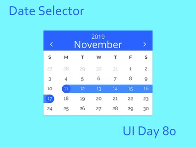 Date Selector Daily UI Challenge Day 80