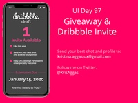 Giveaway and Dribbble Invite - Daily UI Challenge Day 97