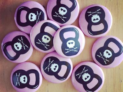 Pink Skull Kettlebell Buttons sticker mule buttons crossfit barbells kettle bell kettlebell