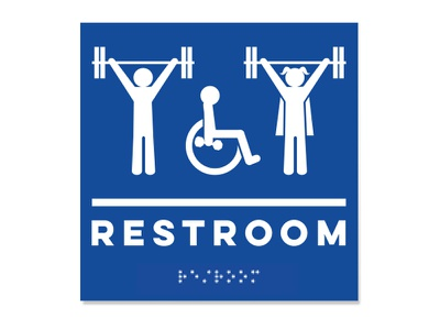 Lift Heavy Restroom Sign barbell badass skate mom weight lifter crossfit signage handicap restroom braille