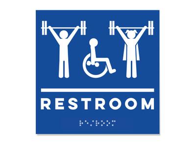 Lift Heavy Restroom Sign barbell badass skate mom weight lifter crossfit signage handicap restroom braille