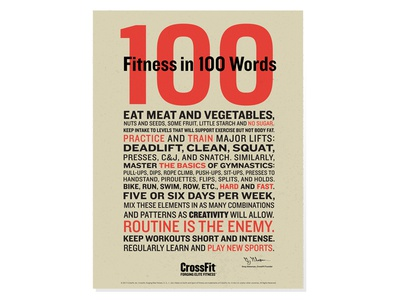 CrossFit 100 Words Poster sports health poster art typography poster crossfit