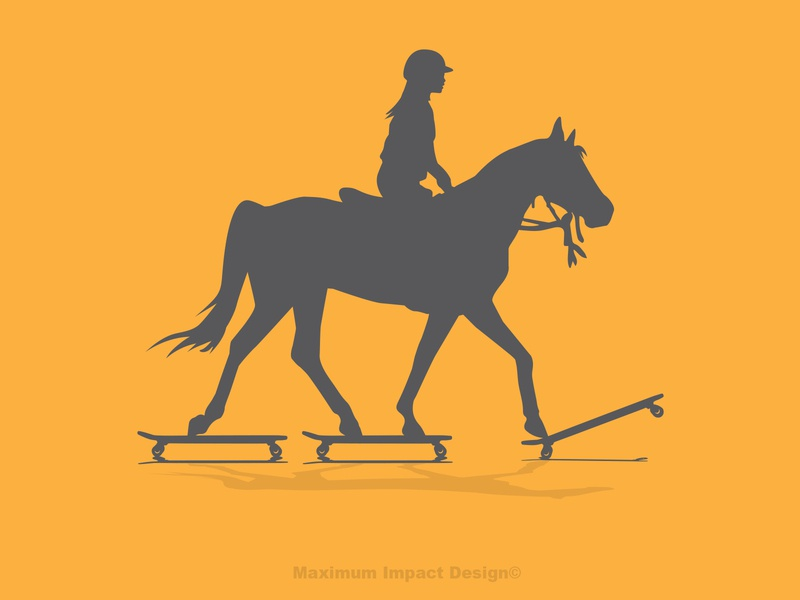 Horses and Skateboarding come together badass crossfit illustration logo santa cruz love skating strong women skateboarding endurance riding horses