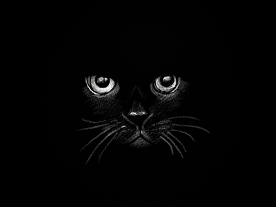 Luck traditional sketching art design creative gothic halloween spooky cat cat eyes pencil chalk pen sketch drawing black and white eyes illustration black paper chalk black cat