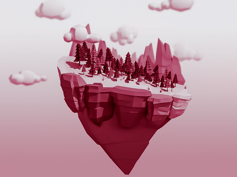 Love Island ♡ 3dillustration redtones mountains trees love loveisland island illustration design 3dmodel 3dsmax modeling render 3d