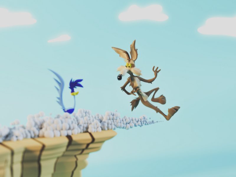 Gravity Lessons road runner render model looney tunes environment design creative coyote cliff character cartoon art 3ds max 3d modeling 3d