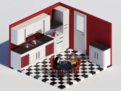 Tea with a penguin - Colour colour black and white red palette interior kitchen high poly modeling creative 3ds max render penguin girl character 3d modeling 3d art design model isometric 3d