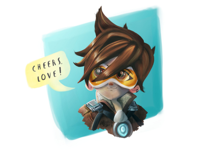 Tracer surface pro digital drawing cheers love character photoshop drawing gameart overwatch tracer fanart art concept painting digital 2d