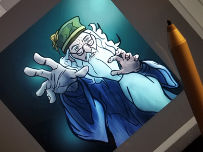 Dumbledore - WIP photoshop fanart illustration hogwarts wizarding world spells magic wizard dumbledore harry potter character digital art 2d sketching art drawing surface pro painting digital