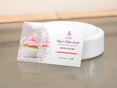 Niza's Cake Land Business Card brand identity branding illustrator business card design business card
