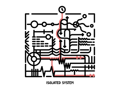 Isolated system minimal art illustration design
