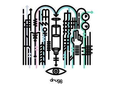 Drugs minimal art illustration design