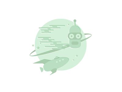 Benderverse icon illustration green futurama