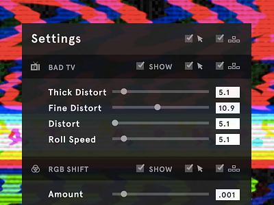 Frosty TV settings ui slider