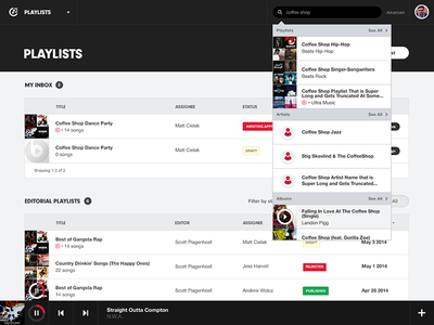 Playlists Management Tool visual design ux search dashboard music ui