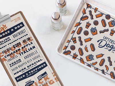 Left Field Dogs menu print typography illustration branding restaurant