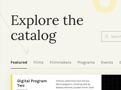 Film & Media Catalog Website visual design portal web app website