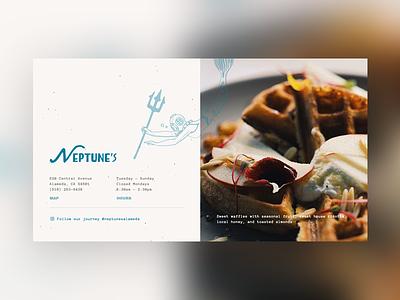 Neptunes Website restaurant website yum brunch waffles responsive website