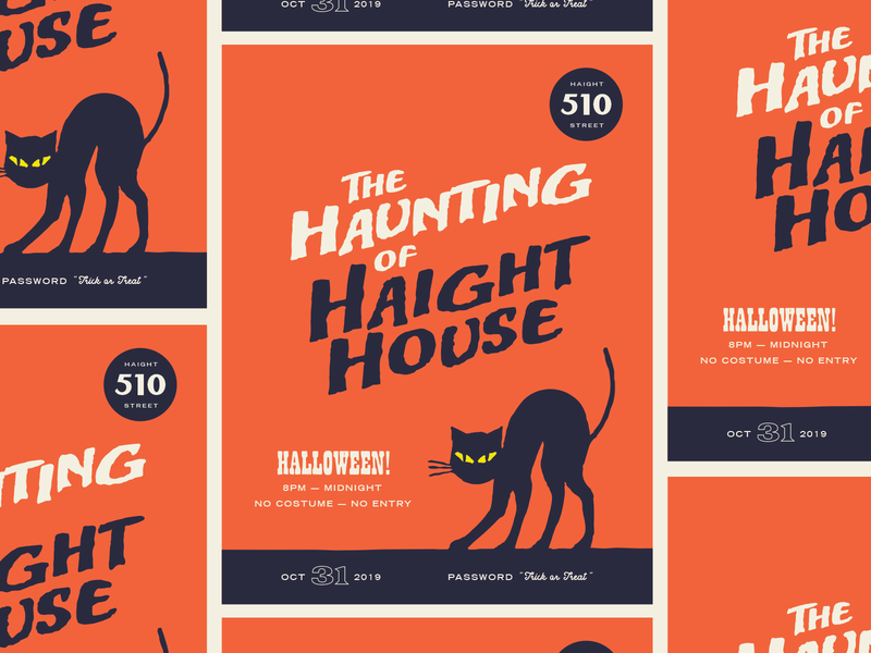 Halloween Party Flyer flyer visual design typography cat halloween illustration design halloween