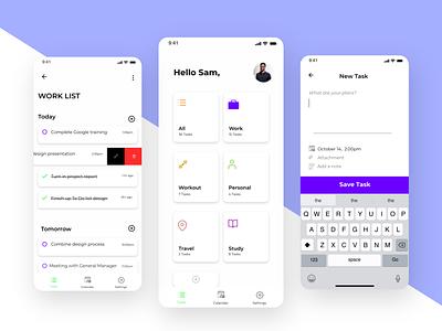 To Do list app ui web design