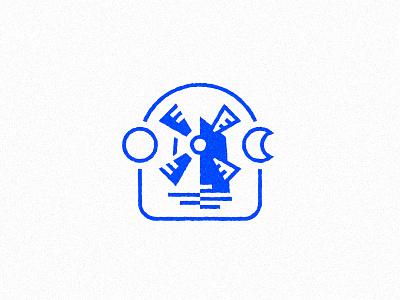 Windmill landscape wind moon sun windmill illustration icon branding inkscape logo